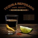 Colpo di tequila con calce e sale Fotografie Stock