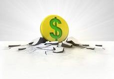 Colpo dorato della moneta del dollaro in terra con il concetto del chiarore Immagine Stock