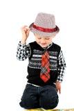 Colpo felice sorridente dello studio del ragazzo isolato su un fondo bianco Fotografia Stock Libera da Diritti