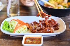 Colpo fritto con salsa piccante Fotografia Stock Libera da Diritti