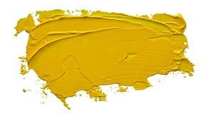 Colpo giallo strutturato della spazzola della pittura ad olio fotografie stock libere da diritti