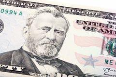 Colpo impilato di U S cinquanta un primo piano di 50 banconote in dollari di Grant Fotografie Stock