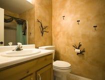Colpo interno di una stanza da bagno con il disegno moderno Immagini Stock Libere da Diritti
