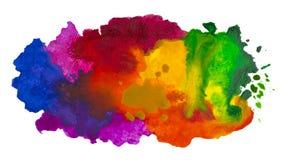 Colpo isolato della nuvola dell'acquerello disegnato a mano su tela Fotografie Stock Libere da Diritti