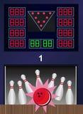 Colpo lanciante - vector i perni e la palla di bowling Fotografia Stock