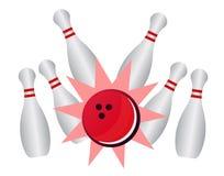 Colpo lanciante - vector i perni e la palla di bowling Immagine Stock Libera da Diritti