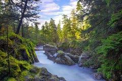 Colpo lungo di esposizione di poche cadute di Qualicum nell'isola di Vancouver, BC Canada fotografia stock
