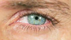 Colpo macro del movimento lento della fine sul bulbo oculare commovente dell'occhio azzurro dell'uomo e di lampeggiamento creando video d archivio