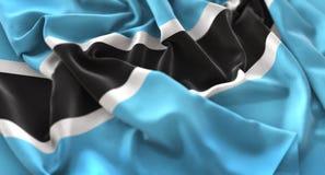 Colpo macro meravigliosamente d'ondeggiamento del primo piano increspato bandiera del Botswana fotografie stock