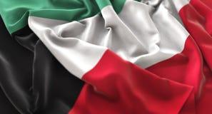 Colpo macro meravigliosamente d'ondeggiamento del primo piano increspato bandiera del Kuwait Immagini Stock Libere da Diritti