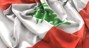 Colpo macro meravigliosamente d'ondeggiamento del primo piano increspato bandiera del Libano Fotografie Stock