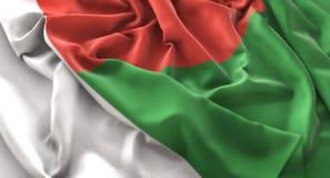 Colpo macro meravigliosamente d'ondeggiamento del primo piano increspato bandiera del Madagascar immagini stock