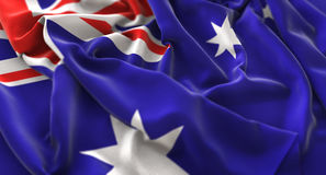 Colpo macro meravigliosamente d'ondeggiamento del primo piano increspato bandiera dell'Australia immagini stock