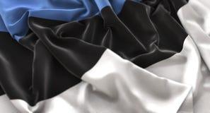 Colpo macro meravigliosamente d'ondeggiamento del primo piano increspato bandiera dell'Estonia immagine stock libera da diritti