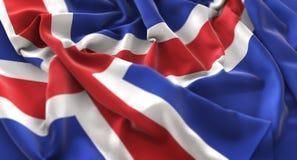 Colpo macro meravigliosamente d'ondeggiamento del primo piano increspato bandiera dell'Islanda fotografia stock libera da diritti