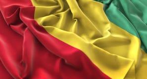 Colpo macro meravigliosamente d'ondeggiamento del primo piano increspato bandiera della Guinea fotografie stock
