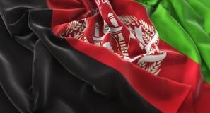 Colpo macro meravigliosamente d'ondeggiamento del primo piano increspato bandiera di Afghanistan fotografia stock