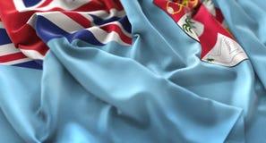 Colpo macro meravigliosamente d'ondeggiamento del primo piano increspato bandiera di Figi fotografie stock libere da diritti