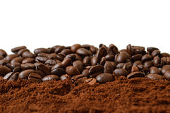 Colpo a macroistruzione dei chicchi di caffè Immagine Stock Libera da Diritti