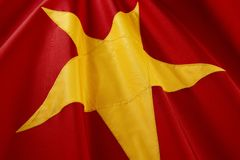 Colpo a macroistruzione della bandierina vietnamita Immagini Stock Libere da Diritti