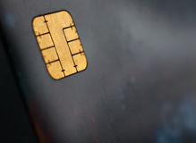 Colpo a macroistruzione della carta di credito, vista del chip Fotografia Stock
