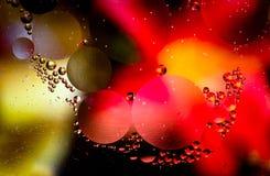Colpo a macroistruzione delle goccioline di olio in acqua astratte Fotografie Stock Libere da Diritti