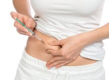 Colpo medico dell'iniezione della siringa dell'insulina del diabete Immagini Stock