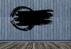Colpo nero del pennello su fondo di legno Copi lo spazio fotografia stock libera da diritti