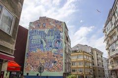 Colpo orizzontale di vecchia via a Costantinopoli Fotografie Stock Libere da Diritti