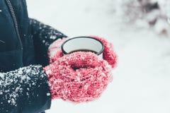 colpo potato della donna che tiene tazza di tè in mani il giorno di inverno Fotografia Stock Libera da Diritti