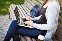 Colpo potato di giovani donne castane su un banco, lavorante con il computer portatile nel parco Immagine Stock