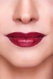 Colpo rosso sensuale di macro delle labbra Fotografia Stock Libera da Diritti