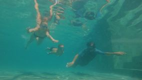 Colpo subacqueo lento di una famiglia felice che si tuffa una piscina Stile di vita sano, genitori attivi video d archivio