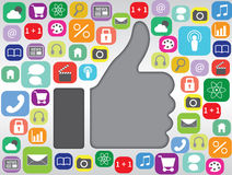 Colpo sul simbolo con il concetto dei apps Fotografia Stock