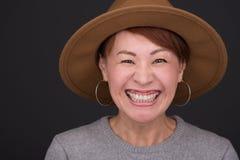 Colpo in testa giapponese della donna Immagini Stock