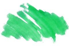 Colpo verde dell'acquerello con struttura del ` s della spazzola isolato su fondo bianco, illustrazione dipinta a mano minimalist illustrazione vettoriale