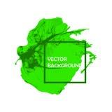 Colpo verde della pittura della spazzola dell'inchiostro con i bordi approssimativi su fondo bianco Immagine Stock
