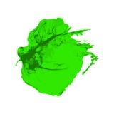 Colpo verde della pittura della spazzola dell'inchiostro con i bordi approssimativi su fondo bianco Immagine Stock Libera da Diritti