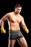 Colpo verticale di un combattente maschio senza camicia Immagine Stock Libera da Diritti