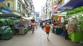 Colporteurs au marché en plein air de pei ho, shui PO, Hong Kong de feinte Images libres de droits