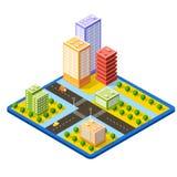 3790colrColorful 3D isometrische stad Stock Illustratie