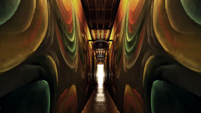 Colroed Hallways With Light in the Distance Royalty Free Stock Photos