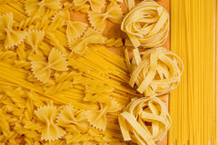Colse up of different kinds of uncooked macaroni Stock Photography