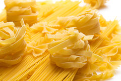 Colse up of different kinds of uncooked macaroni Stock Images