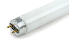 Fluorescent Tube. Colse-up of fluorescent light tube on white background stock images