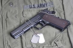 Colt government M1911 on US ARMY uniform. Background stock photos