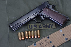Colt government 1911 with us army uniform Stock Photo