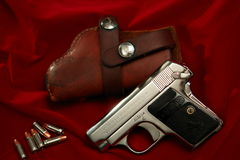Colt 1908 Hammerless Pocket pistol. Smallest auto pistol Colt made. 6 shots. Blue or Nickel.  More than 400,000 manufactured between 1908-1941.  Mainly for Royalty Free Stock Photos