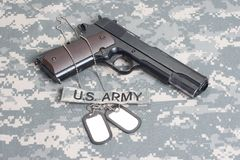 Colt 1911 handgun on camouflage uniform Royalty Free Stock Photos