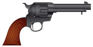 Colt handgun Peacemaker. Colt 1873 Cattleman Peacemaker. The famous Peacemaker 45 Colt used in the Wild West by people like Jesse James. The Colt Single Action stock illustration